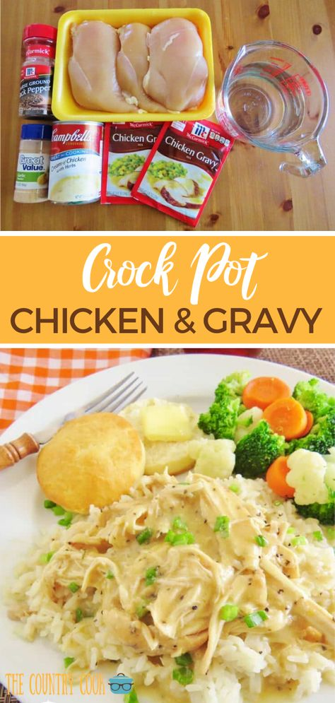 This recipe for Crock Pot Chicken and Gravy is a family favorite. Chicken, gravy mix, cream of chicken, sour cream and seasoning. Delicious and creamy! # Food and Drink meals crock pot CROCK POT CHICKEN AND GRAVY (+VIDEO) Crockpot Dishes, Crock Pot Cooking, Easy Dinner Recipes, Easy Meals, Quick Crockpot Meals, Recipes With Chicken In Crockpot, Crockpot Enchilada Chicken, Creamy Chicken Crock Pot, Crockpot Recipes For Dinner