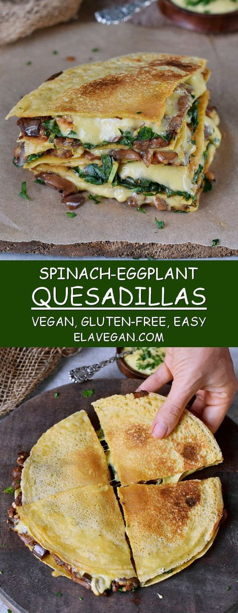 spinach quesadillas are filled with eggplant (aubergine) and vegan cheese . - Fitness-Food & Recipes (gesund & vegan) -These spinach quesadillas are filled with eggplant (aubergine) and vegan cheese . Vegan Foods, Vegan Dishes, Vegetarian Main Dishes, Fromage Vegan, Vegan Cheese Sauce, Cheese Bread, Dairy Free Cheese, Best Vegan Recipes, Vegan Cheese Recipes