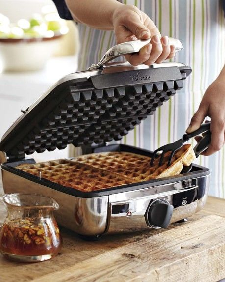 I dream of these thick fluffy waffles! All-Clad Belgian Waffle Makers Belgian Waffle Maker, Belgian Waffles, All Clad Waffle Maker, Kitchen Retro, Kitchen Supplies, Kitchen Items, Kitchen Dining, Cooking Gadgets, Cooking Tools