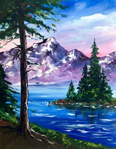 Hey Check Out Happy Mountains And Trees At Red Lion Hotel On The River Yaymaker Easy Landscape Paintings Landscape Paintings Painting