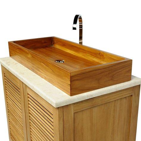 Teak Holz Waschbecken edles Doppelwaschbecken Bad Spa rechteckig 90x40x12 cm | eBay