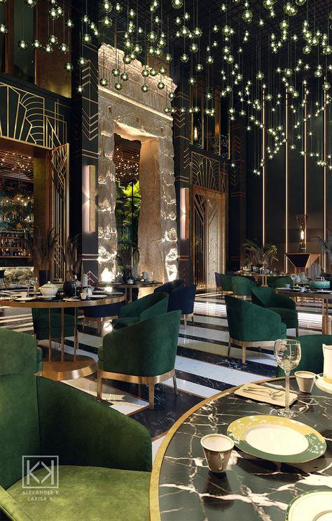 Pub Interior, Bar Interior Design, Cafe Design, Küchen Design, Art Deco Design, Art Deco Hotel, Art Deco Bar, Rooftop Restaurant, Luxury Restaurant