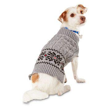 Wag-a-tude Gray Cable Fair Isle Dog Sweater   Nacho   Pinterest   Dog
