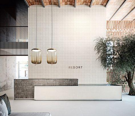 Gallery of Porcelain Tiles - Ronda - 2 Lobby Reception, Reception Counter, Reception Areas, Reception Desks, Office Reception Design, Modern Office Design, Modern Offices, Lobby Design, Design Design