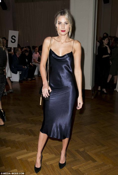 Ready for bed? Meanwhile, former Miss Universe Australia Laura Dundovic kept things simple in a midnight blue satin dress