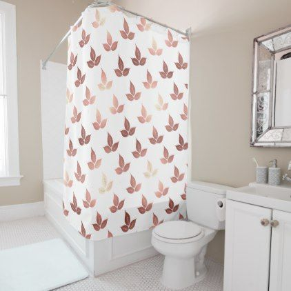 Rose Gold Elegant Leaf Leaves White Shower Curtain Zazzle Com Pink Shower Curtains Elegant Shower Curtains White Shower