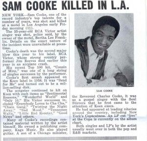Sam Cooke Funeral   SAM COOKE EULOGIZED FUNERAL HELD IN CHICAGO . . . JANUARY 2, 1965