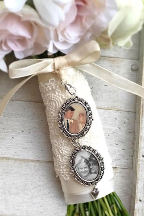Keep those you lost close on the most important day of your life. Personalize your wedding bouquet with a photo charm created with your special photograph. A unique way to have your loved one with you on your wedding day.