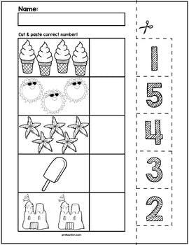 1 Teach Counting Skills With Summer Objects Great For Teaching 1 1 Counting Skills Kindergarten Math Worksheets Preschool Math Worksheets Numbers Preschool