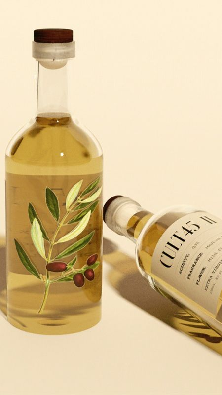 Cult 45 olive oil packaging design by Shapeful Studio
