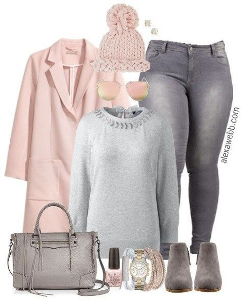 outfit Plus Size Grey Jeans Outfit -...