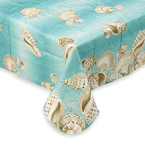 Seashell 70 Inch Round Vinyl Tablecloth Elrene Home Fashions Tablecloth Sizes Vinyl Tablecloth