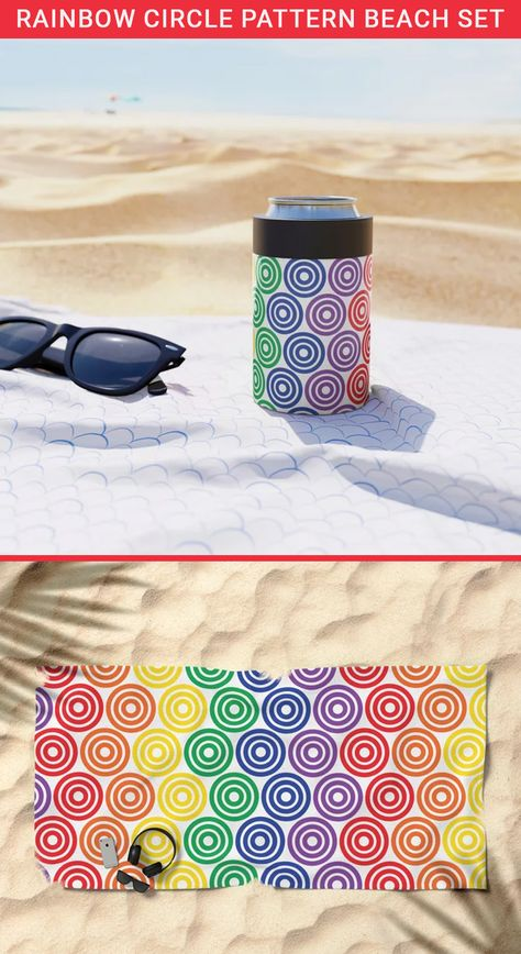 Want to make your beach time fun? Then get this Geometric circle pattern beach set. Geometric circle pattern Can Cooler & beach towel rainbow colors. These are oversized beach towels so you can easily layon. Colorful beach towels are the best gift for beach lovers. geometric beach towels in rainbow colors. Can coolers can hold 12OZ of drinks. Cans keep drinks cold or hot for hours #beachtowel #beach #summer #towel #beachlife #beachaccessories #summervibes #oversizedbeachtowel #colorfulbeachtowel