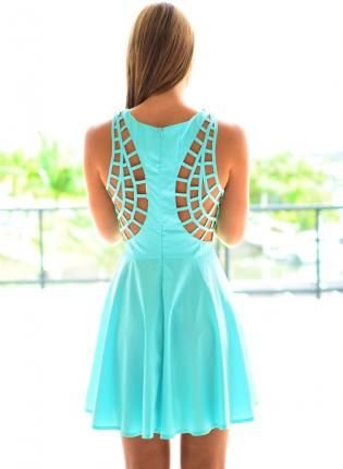 Aqua Sleeveless Dress with Cutout Strappy Back Detail,  Dress, cutout dress  sleeveless  skater skirt, Chic