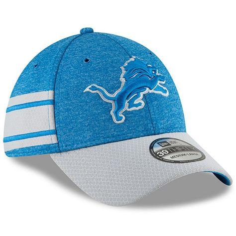 54e6bb34080 Detroit Lions New Era 2018 NFL Sideline Home Official 39THIRTY Flex Hat –  Blue Gray