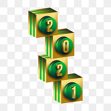 Green And Gold Cube 3d Illustration With Number 2021 Multi Colored Three Dimensional Illustration Png And Vector With Transparent Background For Free Downloa Green And Gold Sign Design Three Dimensional
