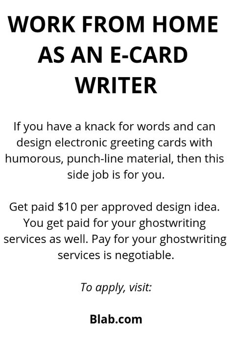 Work From Home As An E Card Writer Card Writer Work From Home