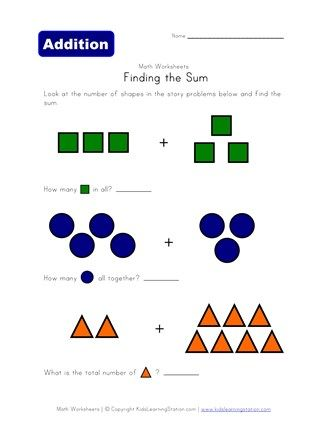 Shapes Theme Addition Problems Kids Math Worksheets Kindergarten Addition Worksheets Worksheets Writing addition equations worksheets