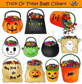 Trick Or Treat Bags Clipart Halloween Candy Trick Or Treat Bags Treat Bags Halloween Activities For Kids