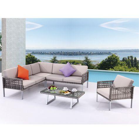 Astonishing Outdoor Patio Aluiminum Waterproof Rattan Garden Table Set Machost Co Dining Chair Design Ideas Machostcouk