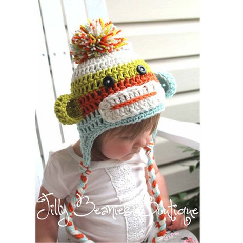 Sock Monkey Hat, Baby Hats, Monkey Hats, Baby Boy Hats, Boy Hats, Girl Hats, Crochet Hats, Photo Prop, Children Hats, Kids Hats
