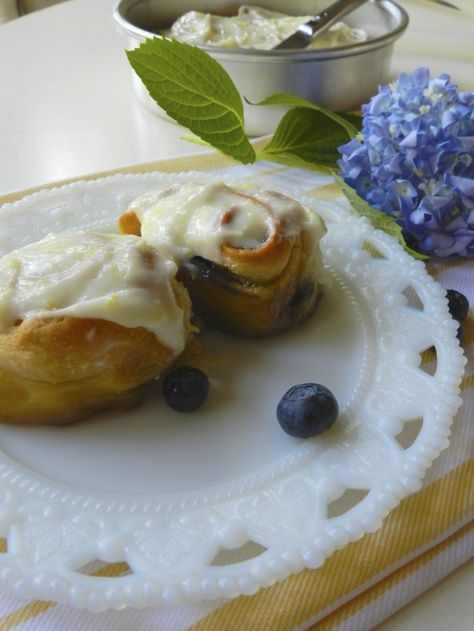 Must try...Blueberry Lemon Breakfast Rolls--crescent rolls rolled out into strips; spread with brown sugar and dot with blueberries. Roll up and bake and then frost with cream cheese, powdered sugar, lemon juice and zest.