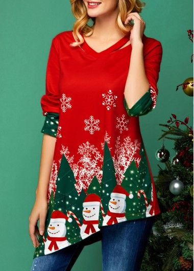 Christmas Shirt Asymmetric Hem Cutout Neckline Christmas Print T Shirt In 2020 Trendy Tops For Women Trendy Tops Christmas Fashion