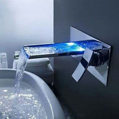 Color Changing Led Waterfall Bathroom Sink Faucet Wall Mount Bathroom Changing Color Faucet Led Modern Faucet Sink Faucets Wall Mounted Bathroom Sinks
