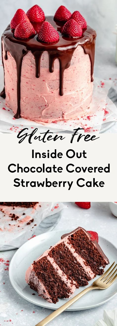 Beautiful inside out chocolate covered strawberry cake topped with a luscious, homemade strawberry buttercream frosting. This wonderful, grain and gluten free chocolate strawberry cake is easily dairy free and makes the perfect dessert for Valentine's Day or celebrations! Add a drizzle of chocolate ganache for the ultimate indulgence. #chocolatecake #cake #valentinesday #chocolate #strawberry #glutenfree #grainfree