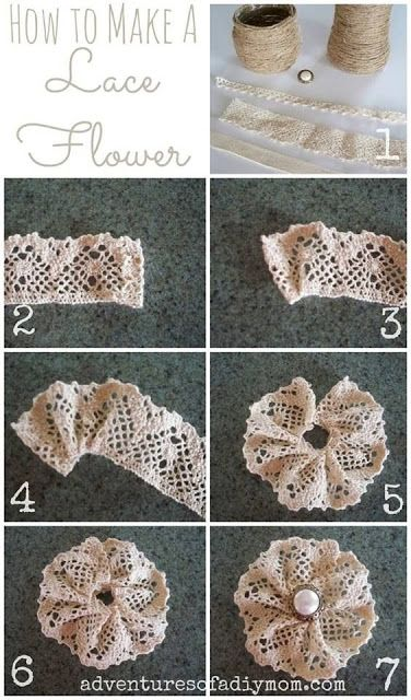 How to Make a Lace Flower Adventures of a DIY Mom How to Make a Lace Flower The post How to Make a Lace Flower appeared first on Basteln ideen. blumen How to Make a Lace Flower - Basteln ideen Cloth Flowers, Burlap Flowers, Felt Flowers, Diy Flowers, Diy Flower Fabric, Flower Diy, Burlap Lace, Fabric Ribbon, Flower Wall