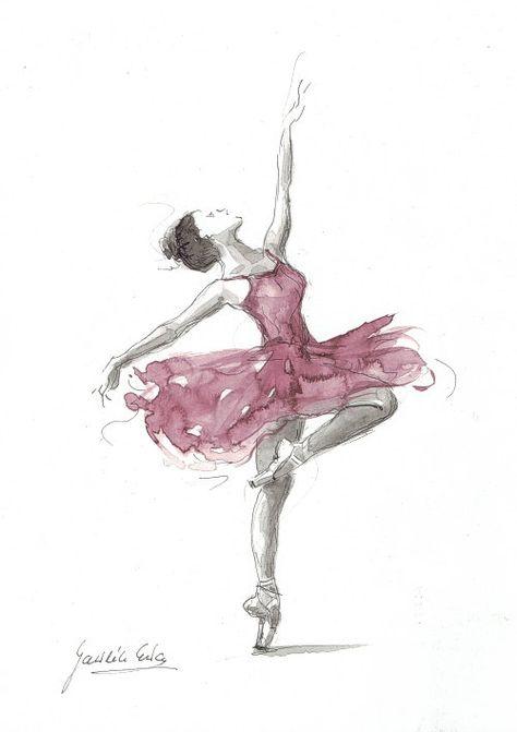 Art aquarelle originale peinture de ballerine de par EwArtStudio