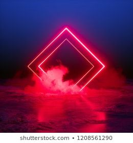 3d Render Abstract Background Square Portal Red Neon Lights