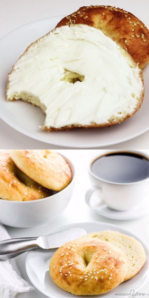 Keto Low Carb Bagels Recipe With Fathead Dough - Gluten Free - Just 5 INGREDIENTS needed to make these gluten-free, low carb bagels with almond flour fathead dough. They are easy, chewy, and delicious! If you want keto bagels or gluten-free bagels that taste great, you're going to love these. #wholesomeyum #keto #lowcarb #glutenfree #fathead #breakfast #bread #easy