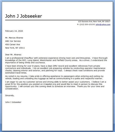 Letter For A Chauffeur Cover Letter Sample Creative Resume Design 712 170bf35a98ed2ae712b0b