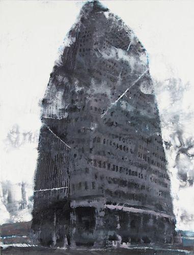 Philippe Cognee Tower Of Babel 2016 Peinture A La Cire Sur