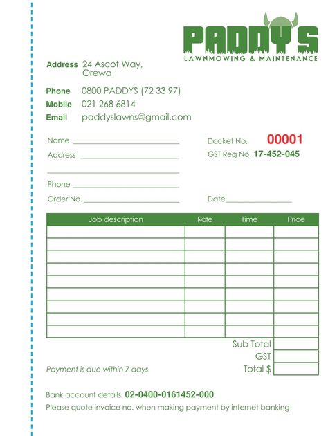 Invoice book design based on required fields Blue dashes to show - invoice books custom