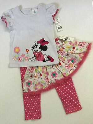 Ebay Sponsored Disney Minnie Mouse 9 12 Months 3 Piece Top Skirt Leggings Set Baby Girl Pink Baby Sets Baby Girl Boots Minnie Mouse Skirt