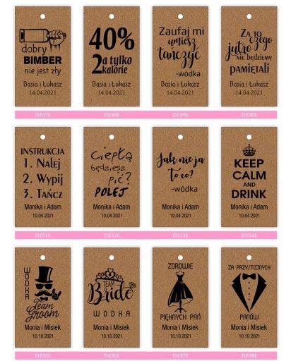 Eko Zawieszki Etykiety Wodke Weselna Alkohol 36szt Wedding Wedding Dresses Tech Company Logos