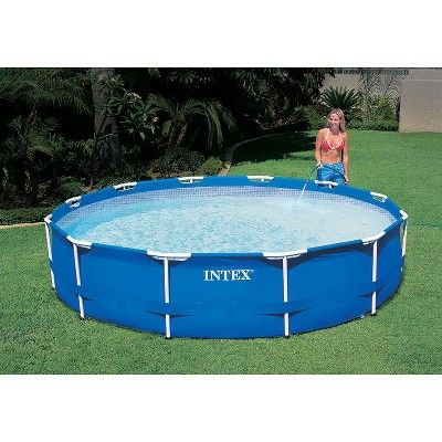 Intex 12 X 30 Metal Frame Set Swimming Pool With 530 Gph Filter Pump In Ground Pools Swimming Pools Above Ground Swimming Pools
