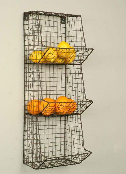 Love these wire baskets for kitchen storage