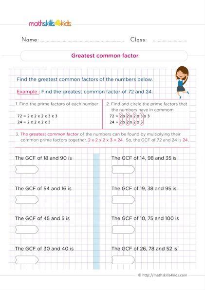 Printable Number Theory Worksheets Pdf For Grade 6 Number Theory Math Skills Worksheet For Grade 6 Math grade 6 worksheets