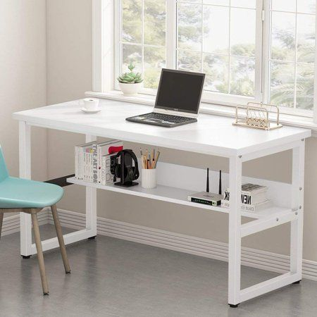 Tribesigns Computer Desk With Bookshelf 55 Simple Modern Style Writing Desk With Shelves Works As Office Desk Study Ta Bookshelf Desk Study Table Desk Design