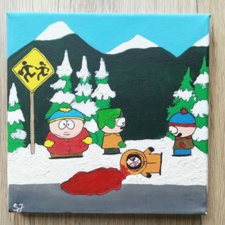 South Park Acrylic Colors On 20x20cm Canvas This One Ended Up Looking Quite Nice Because Of The White Acrylic T Acrylic Colors Ilustration Art Canvas
