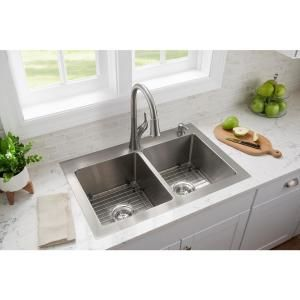 Kraus Loften All In One Dual Mount Drop In Stainless Steel 33 In 2 Hole Single Bowl Kitchen Sink With Pull Down Faucet Kch 1000 The Home Depot Single Bowl Kitchen Sink Corner Sink Kitchen Top