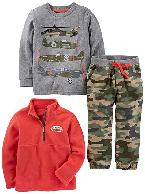 and Woven Pant Playwear Set Simple Joys by Carters Baby Boys 3-Piece Fleece Vest Long-Sleeve Shirt