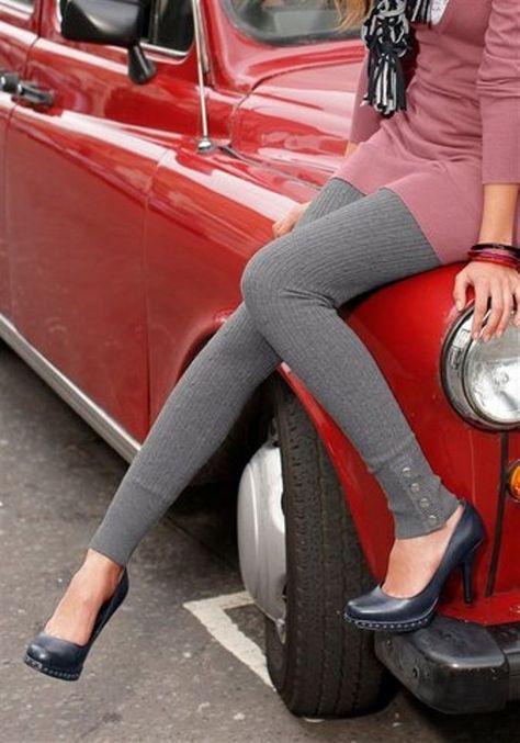 AJC Girls Strick Leggings mit Knöpfe Gr.36/38,40/42 oder 44/46 lang in 2 Farben   eBay