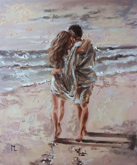 """Buy """" MOMENTS WITH YOU ... """"- SKY SEA SAND liGHt  couple ORIGINAL OIL PAINTING, GIFT, PALETTE KNIFE, Oil painting by Monika Luniak on Artfinder. Discover thousands of other original paintings, prints, sculptures and photography from independent artists."""