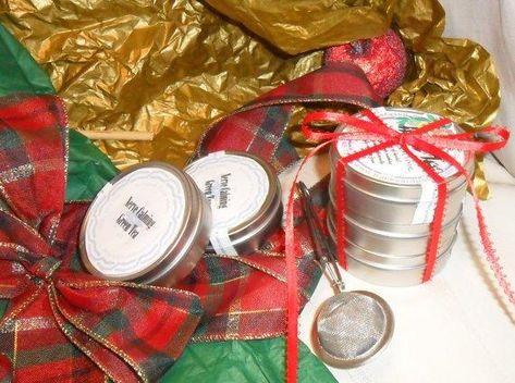 Herb Tea Tower Package, set of three, herbal tea tins, ribbon, gift package - Special Black