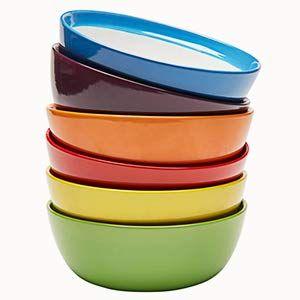 Amazon Com Premium Ceramic Set Of 6 Colorful Meal Stoneware Dinner Plates Dinnerware Sets Ceramic Set Pasta Bowl Set Dining And Entertaining