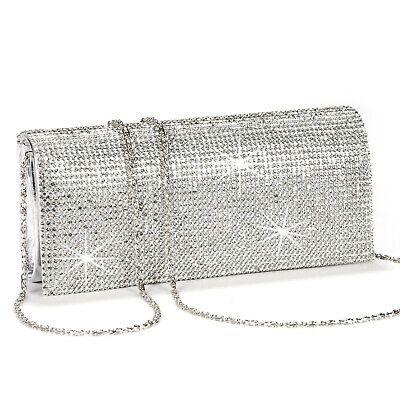 Glitter Flap Shimmer Glitz Satin Clutch Bag Evening Womens Handbag Wedding Prom